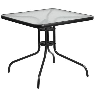 Clear/Black Square Metal Outdoor Bistro Table