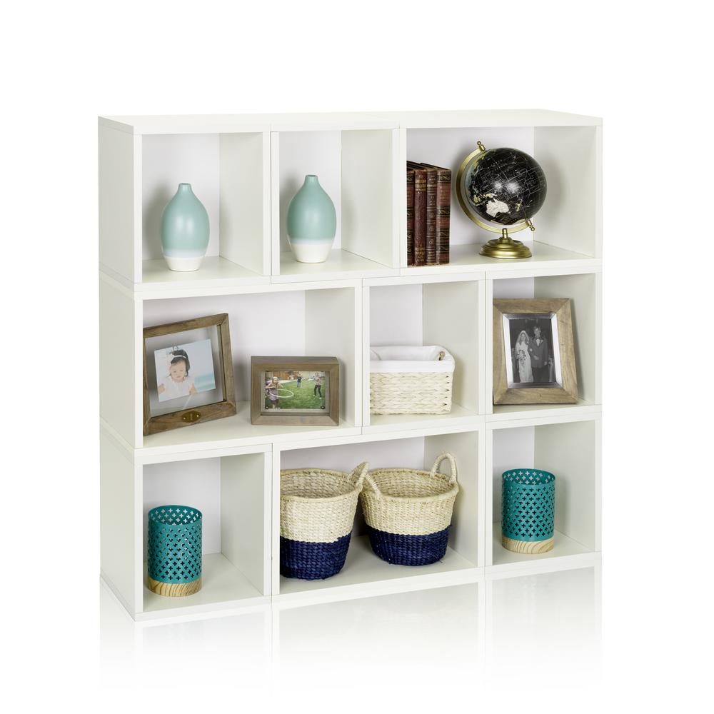 Oxford eco zboard tool free assembly white stackable modular open bookcase