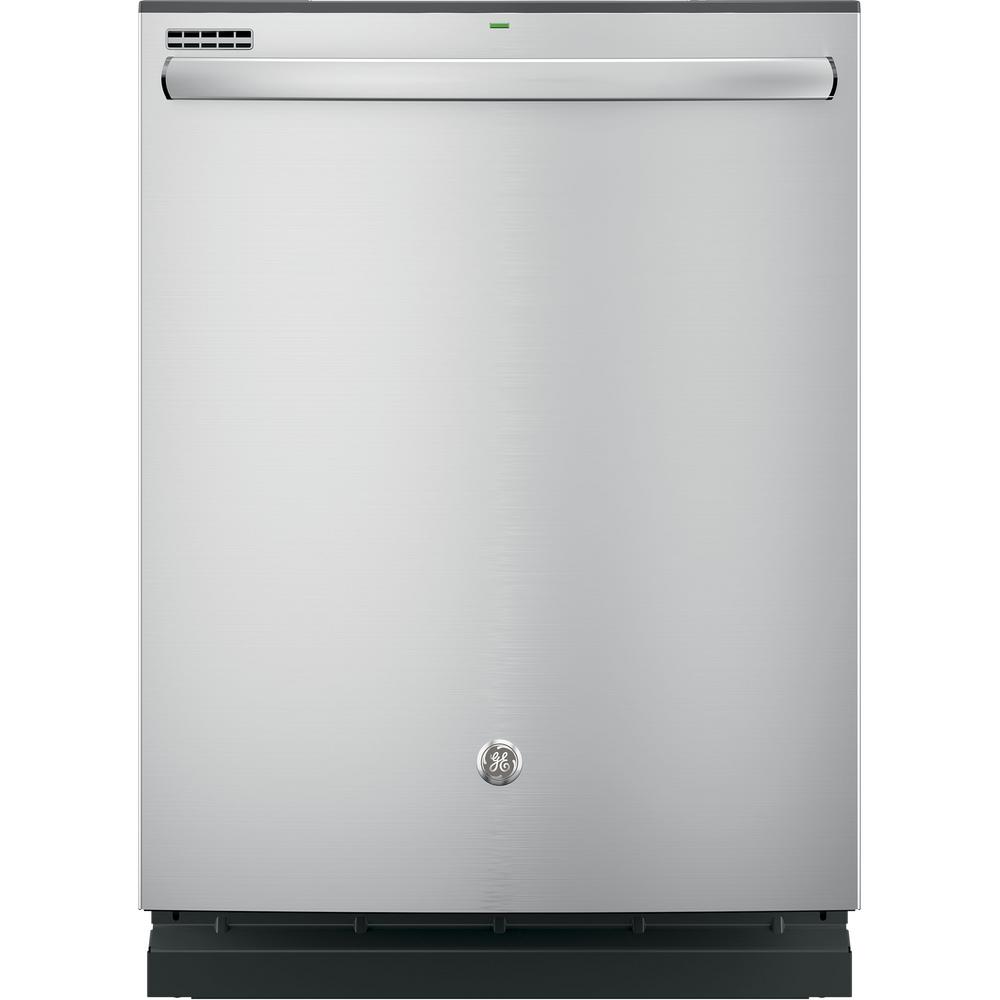 GE Top Control Dishwasher in Stainless Steel with Steam P...