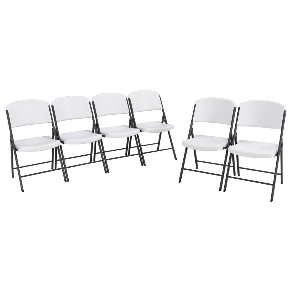Lifetime White Plastic Seat Metal Frame Outdoor Safe Folding Chair (Set of 6)