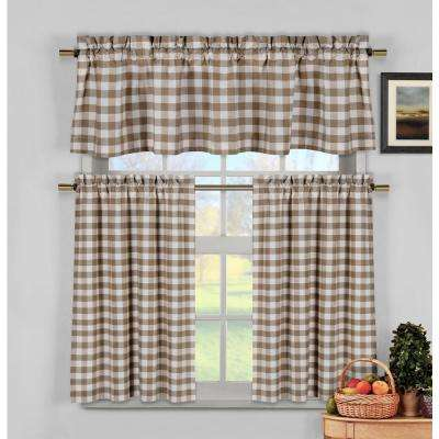 Kingston Brown Kitchen Curtain Set - 58 in. W x 15 in. L in (3-Piece)
