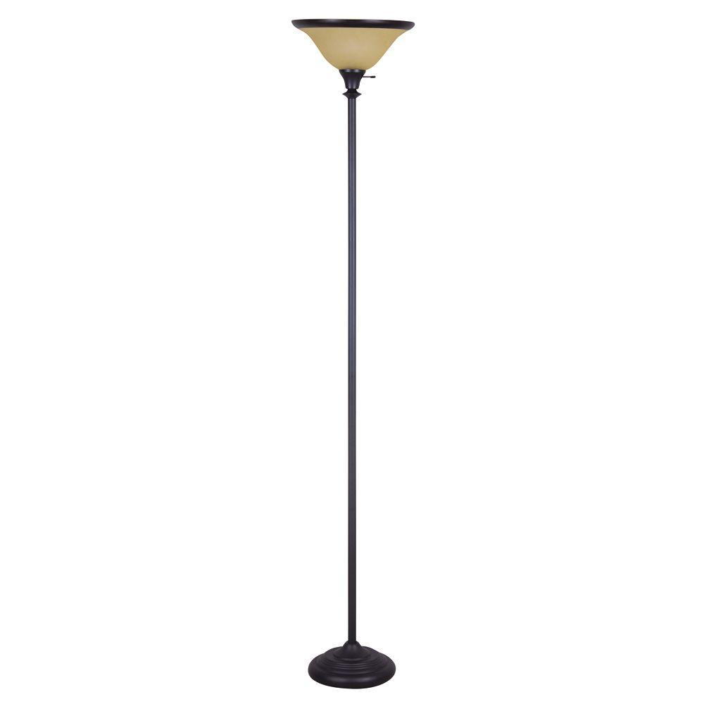 Evolution Lighting Evolution Lighting 71.30 in. Dark Bronze Torchiere with Glass Shade-DISCONTINUED