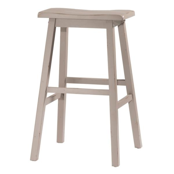 Moreno Distressed Gray Non Swivel Backless Counter Stool