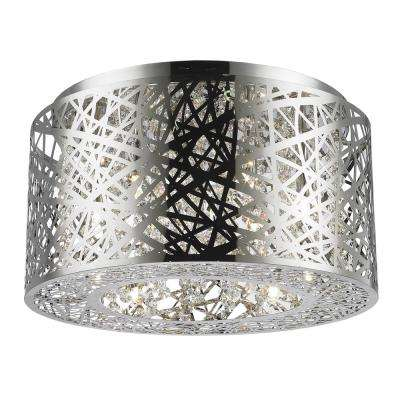 Aramis Collection 6-Light Chrome Flush Mount with Clear Crystal