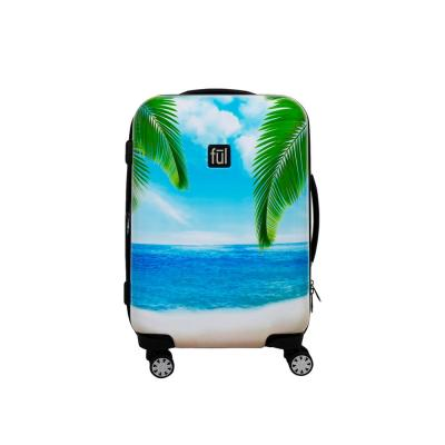 Printed Tropical Beach 21 in. Hard Sided Rolling Luggage
