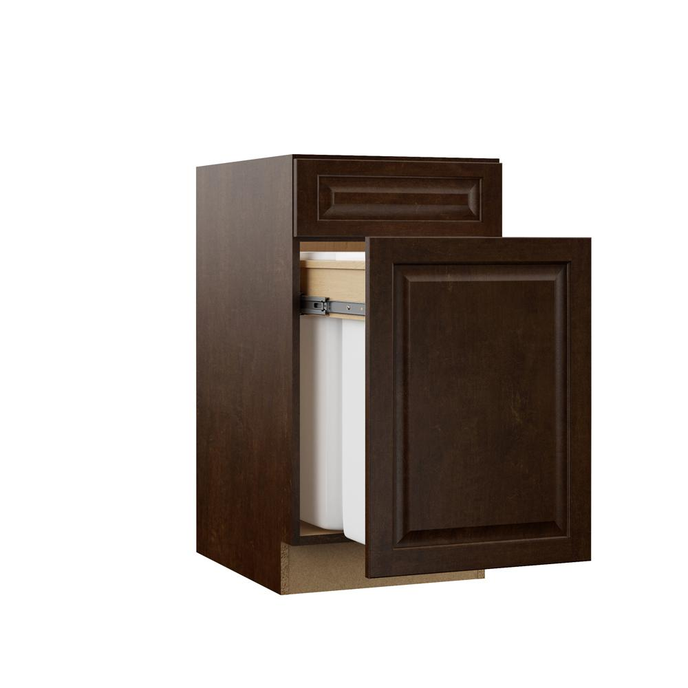 Hampton Bay Designer Series Gretna Assembled 18x34.5x23.75 in. Dual Pull Out Trash Can Base Kitchen Cabinet in Espresso