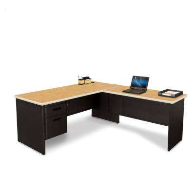 Black and Oak Desk with Return
