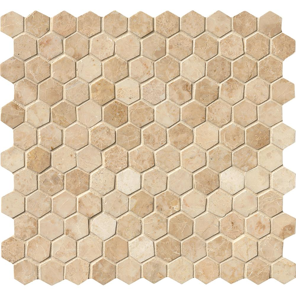 Ms International Crema Cappuccino Hexagon 12 In X 12 In