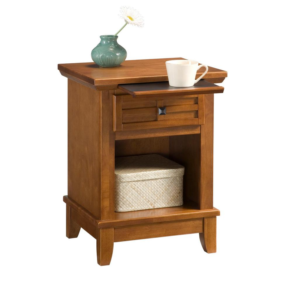 Home Styles Arts And Crafts 1 Drawer Cottage Oak Nightstand
