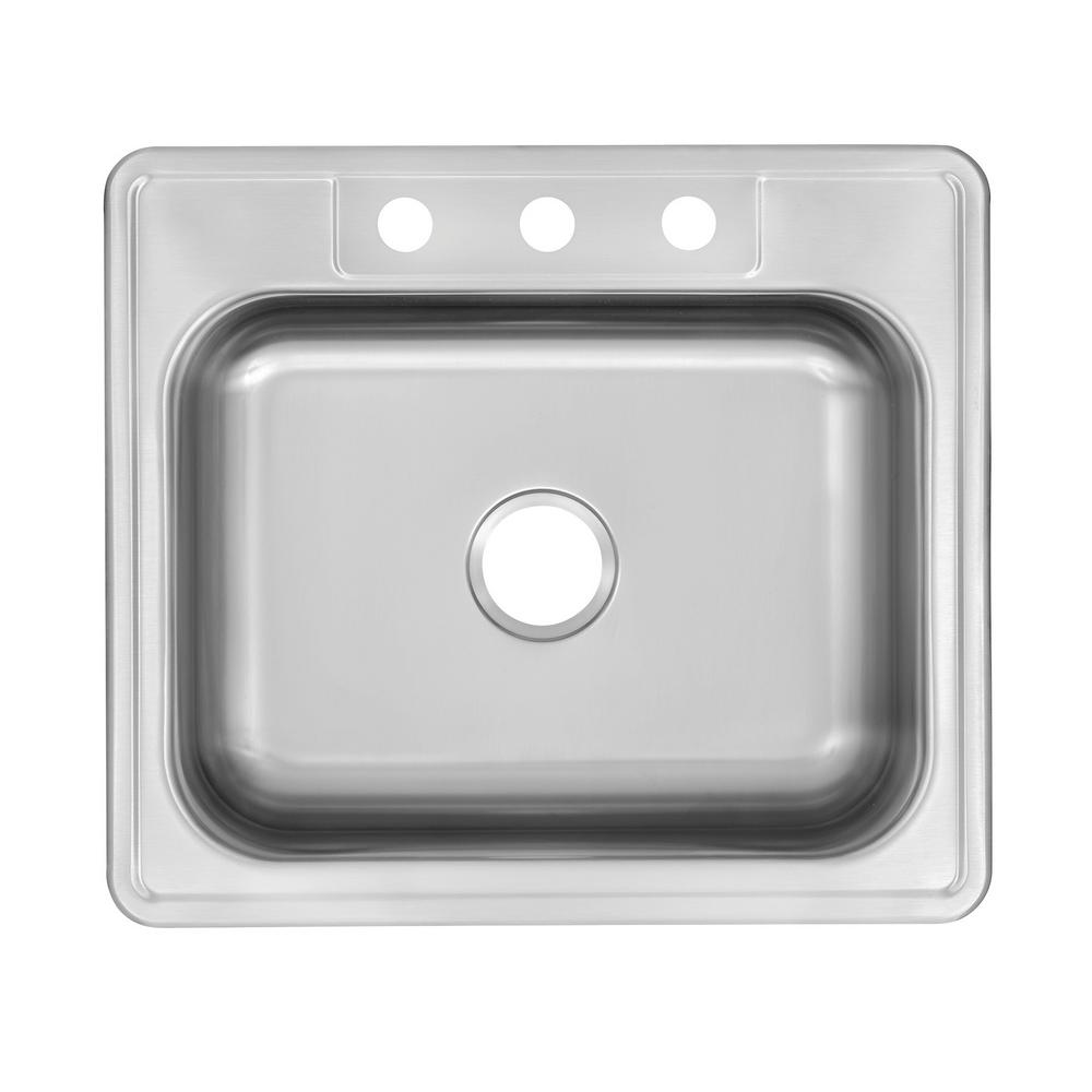 Glacier Bay Drop-In Stainless Steel 25 in. 3-Hole Single Bowl Kitchen Sink