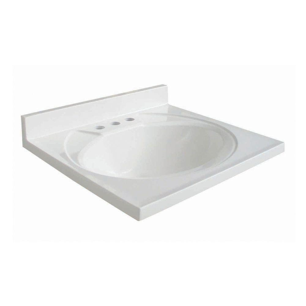 Glacier Bay Newport 19 in. AB Engineered Composite Vanity Top in White with White Bowl
