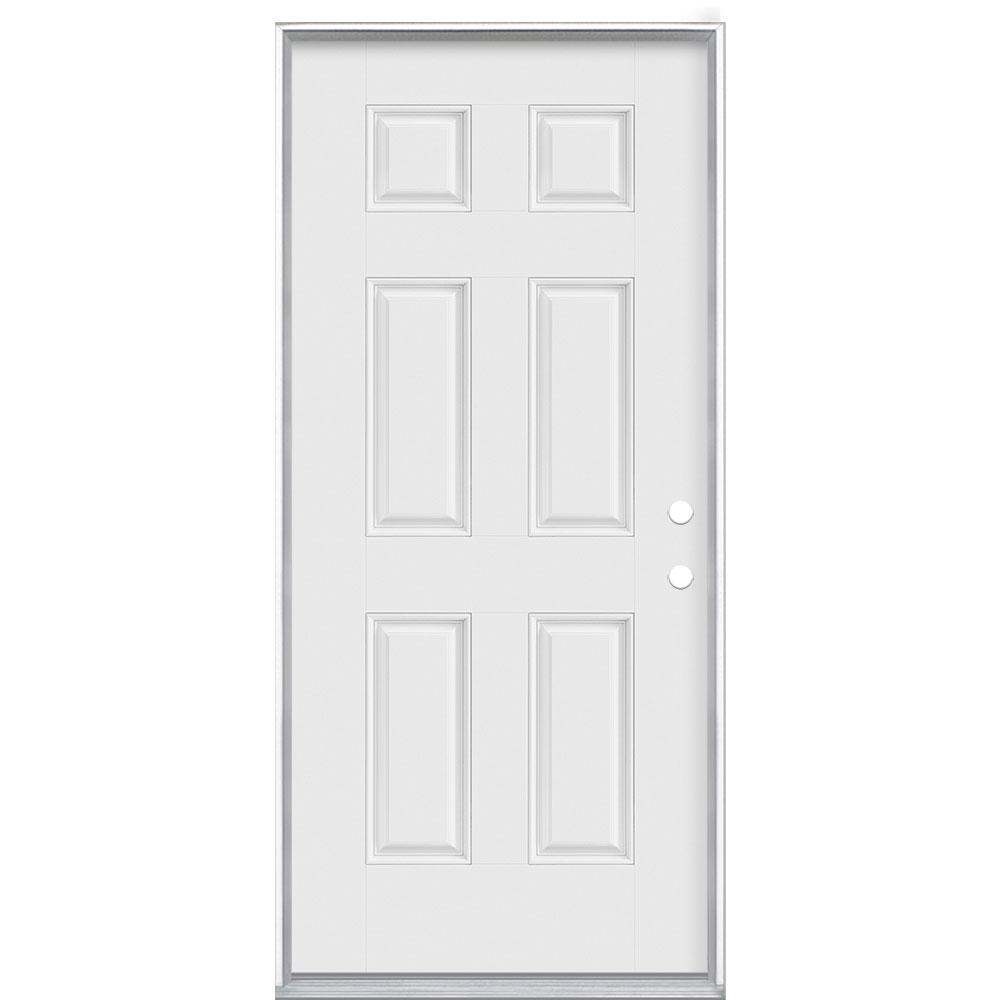 Masonite 36 in. x 80 in. 6-Panel Left Hand Inswing Primed White Smooth Fiberglass Prehung Front Exterior Door, Vinyl Frame
