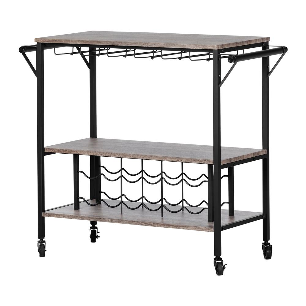 South Shore Munich Weathered Oak and Matte Black Bar Cart with Wine Rack