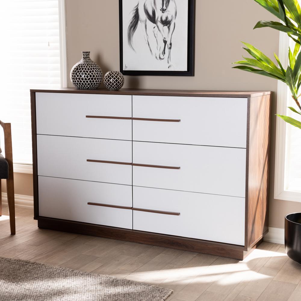 Baxton Studio Mette 6 Drawer White And Walnut Dresser 157