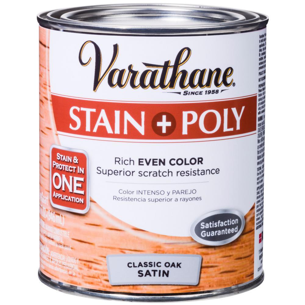 Varathane 1-qt. Oak Satin Water-Based Interior Stain and Polyurethane (2-Pack)