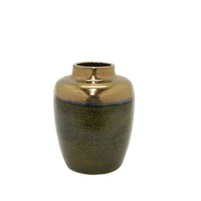 12 in. Brown Ceramic Decorative Vase