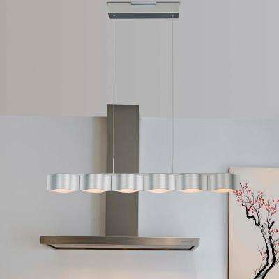 Asellus 33-Watt Silver Integrated LED Adjustable Modern Linear Chandelier 38 in.