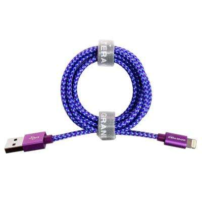 4 ft. Apple MFi Certified Lightning to USB Braided Cable with Aluminum Housing, Purple/Blue