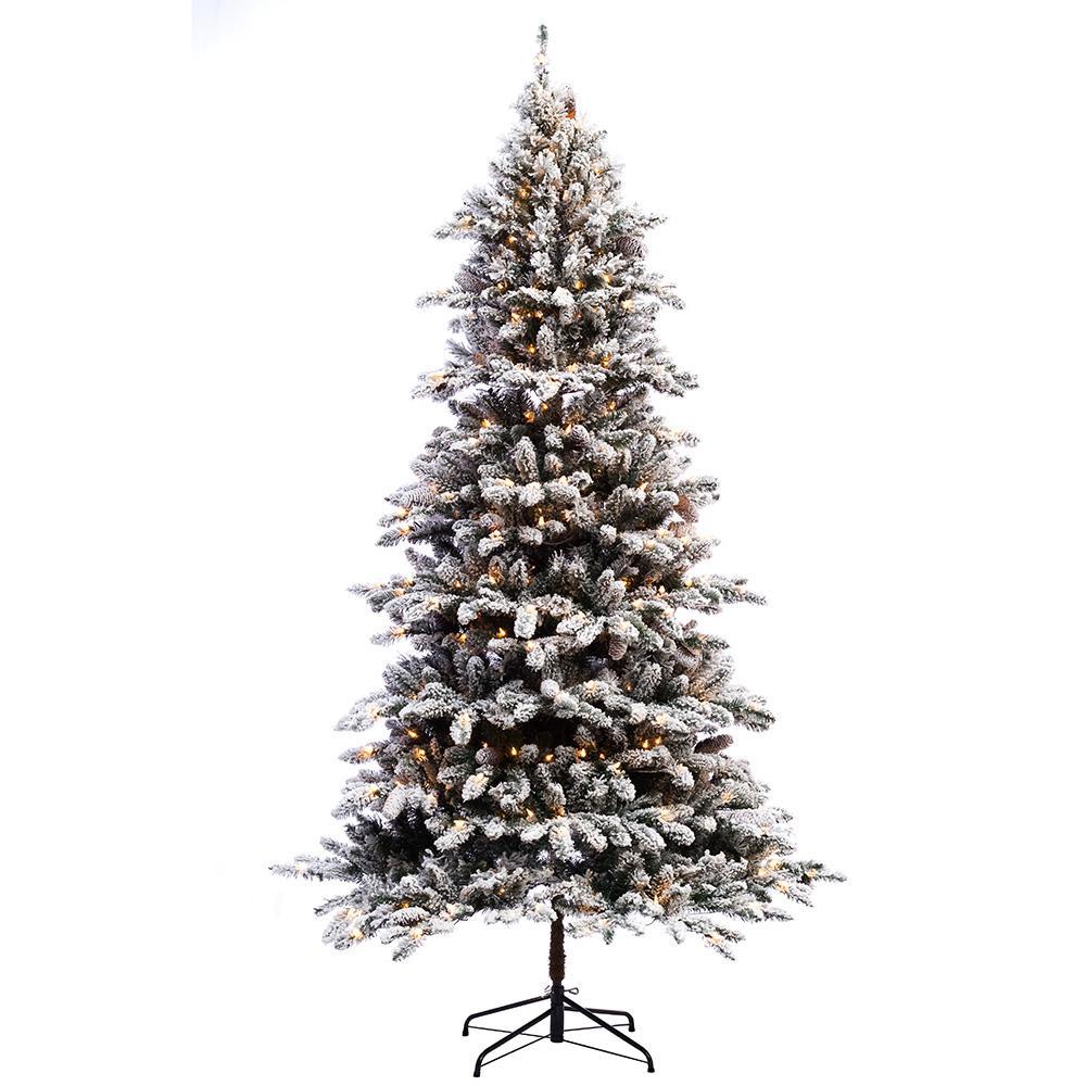 Pre Lit Flocked Artificial Christmas Trees: Puleo International 7.5 Ft. Pre-Lit Incandescent Flocked