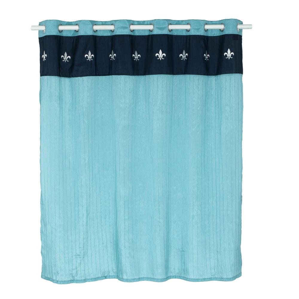 Lavish Home 72 in. Embroidered Shower Curtain with Grommets in Blue