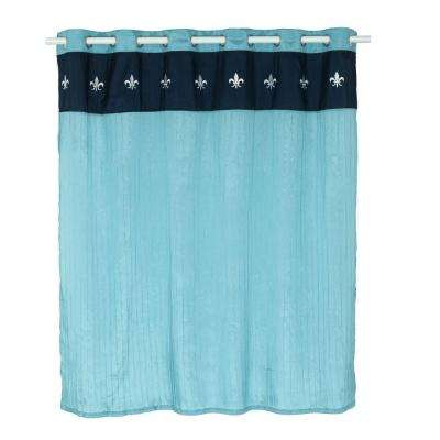 embroidered shower curtain with grommets in blue