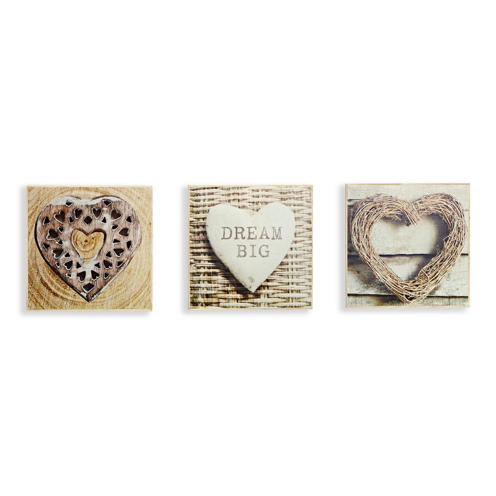 Rustic Hearts Set of 3 Canvas Wall Art