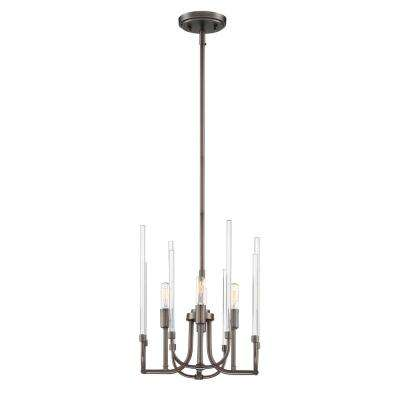 Laretto 4-Light Satin Copper Bronze Chandelier with Clear Smooth Glass Rods Shade