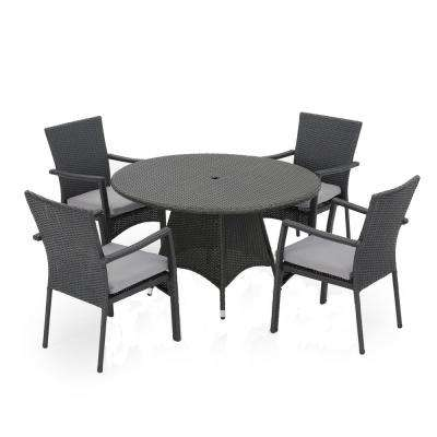 Graham Grey 5-Piece Wicker Round Outdoor Dining Set with Grey Cushions