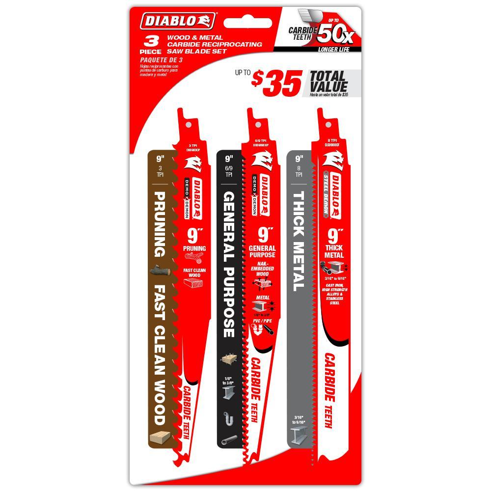 3-Pack Milwaukee 48-00-1430 9-Inch Tungsten Carbide Sawzall Blades