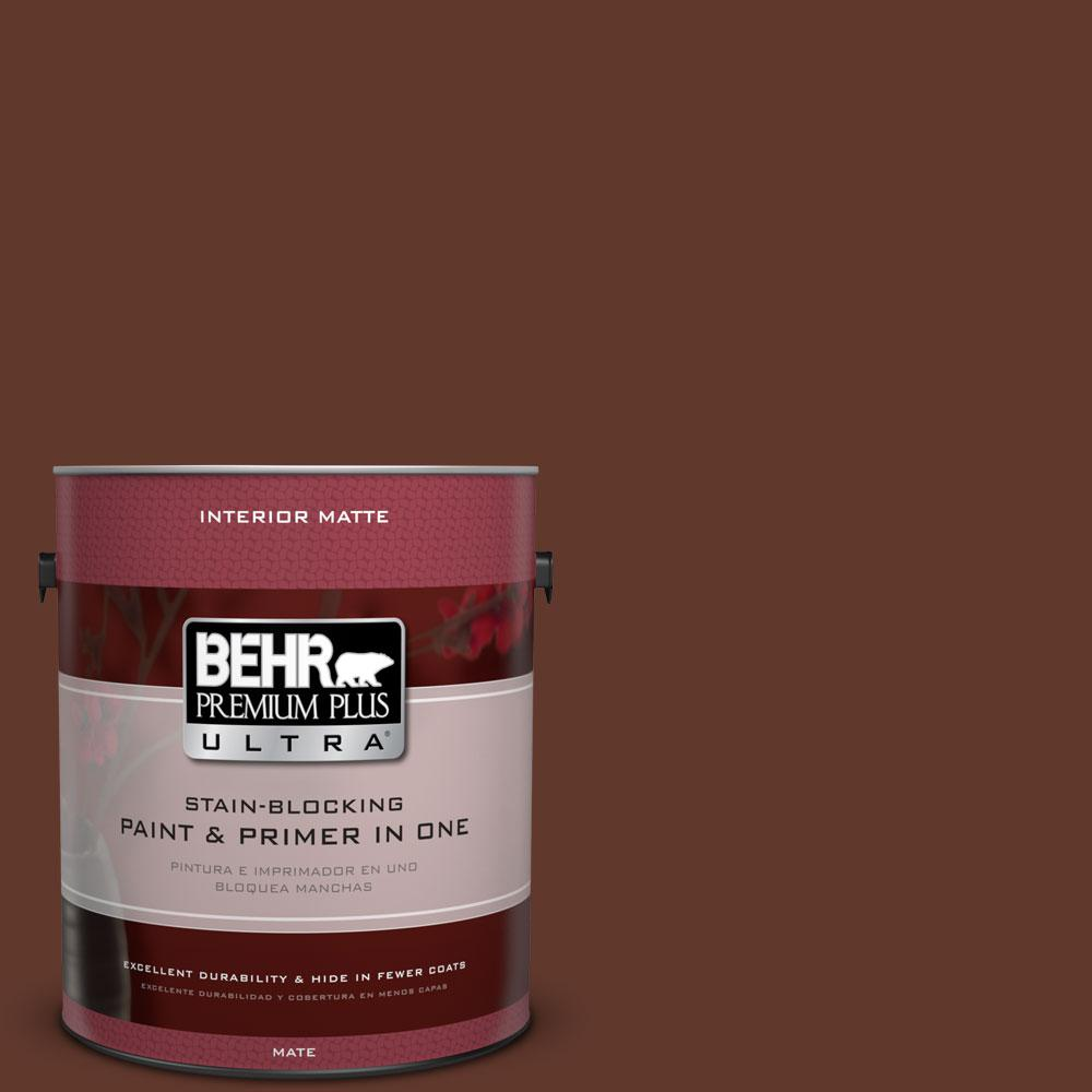 1 gal. #ECC-42-3 Deep Cherrywood Matte Interior Paint and Primer in