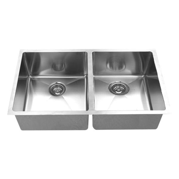 Hand Made 16-Gauge R15 50/50 Undermount 304 Stainless Steel 32 in. Double Bowl Kitchen Sink with Grids