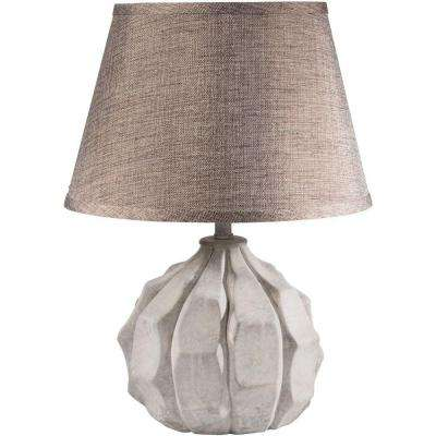 Tesla 13 in. Washed Light Gray Indoor Table Lamp