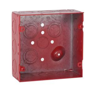 4-11/16 in. Square Welded Box, 2-1/8 in. Deep with 1/2 & 3/4 in. TKO's - Life Safety Red