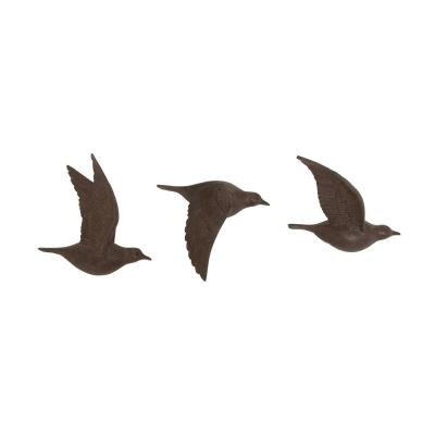 Large Rustic Brown Flying Birds Wall Decor Resin Wall Art Sculptures, Flying Doves Symbols of Peace, Love, Springtime