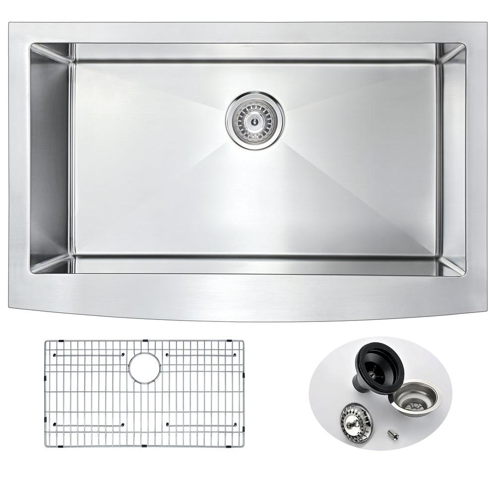 ELYSIAN Series Farmhouse Stainless Steel 36 in. 0-Hole Single Bowl Kitchen