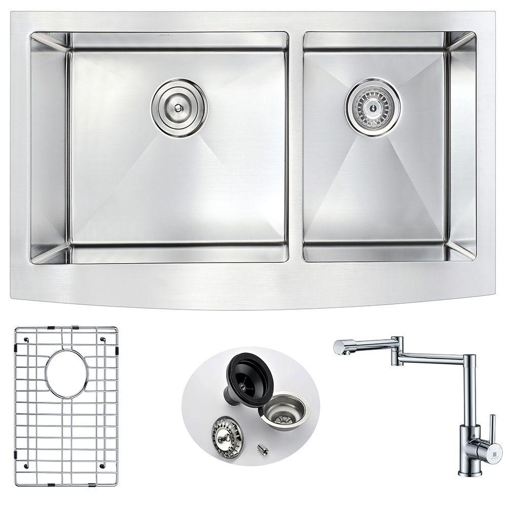 ELYSIAN Farmhouse Stainless Steel 36 in. Double Bowl Kitchen Sink and