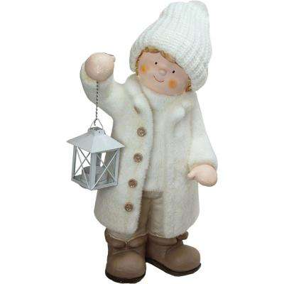 17.25 in. Winter Boy in White Holding a Tealight Lantern Christmas Table Top Figure