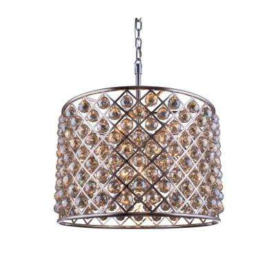 Madison 8-Light Polished Nickel Chandelier with Golden Teak Smoky Crystal