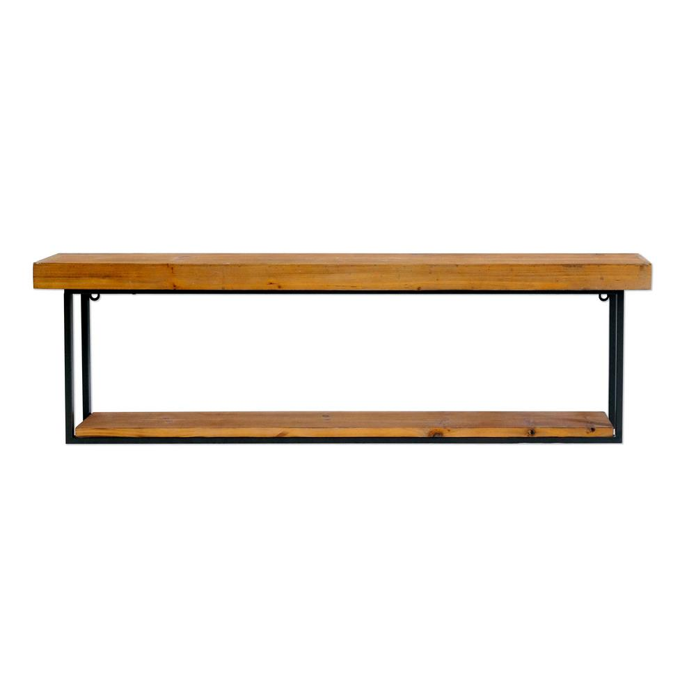 Cumberland Wood and Metal Wall Shelf (Set of 2)