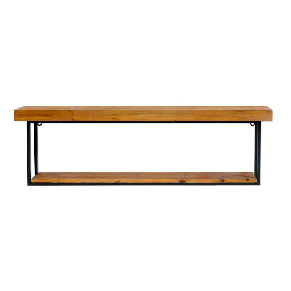 Cumberland Wood and Metal Wall Shelf (Set of 2)
