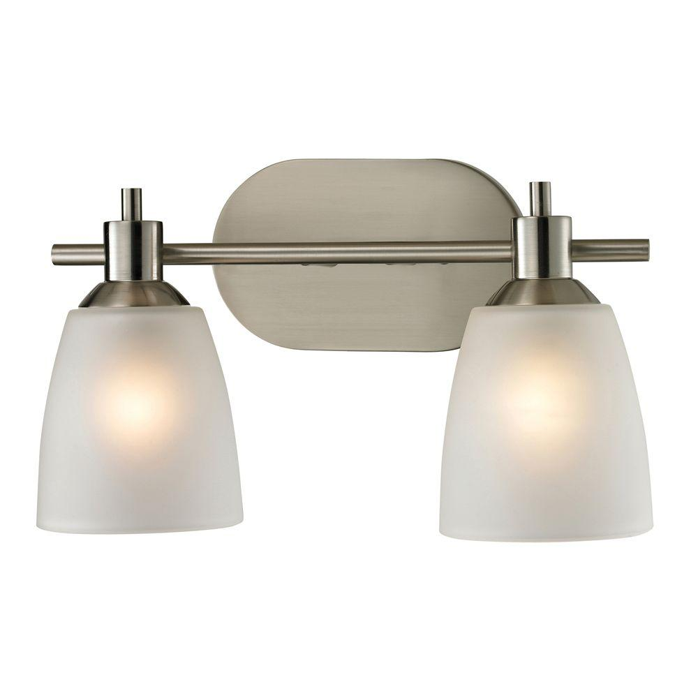 Titan Lighting Jackson 2-Light Brushed Nickel Wall Mount Bath Bar Light