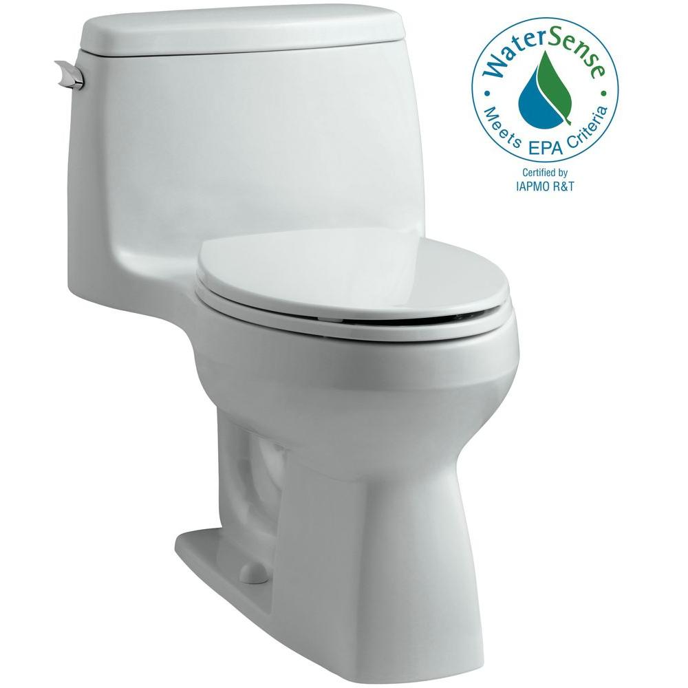 KOHLER Santa Rosa Comfort Height 1-piece 1.28 GPF Single Flush Compact Elongated Toilet with AquaPiston Flush in Ice Grey