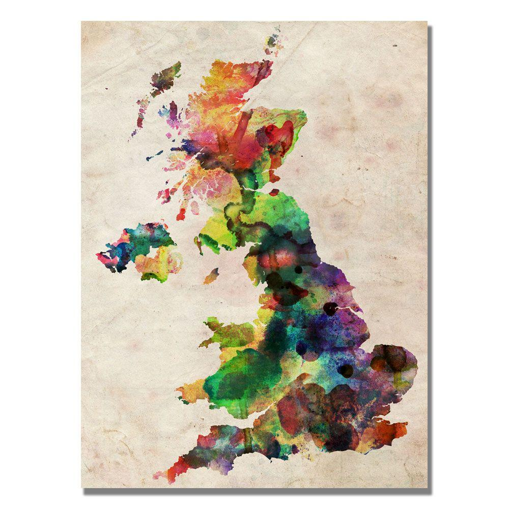 null 30 in. x 47 in. UK Watercolour Map Canvas Art