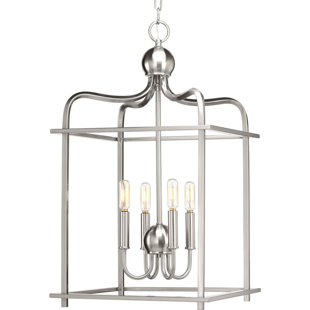 Progress Lighting Assesmbly Hall Collection 4 Light Brushed Nickel Pendant