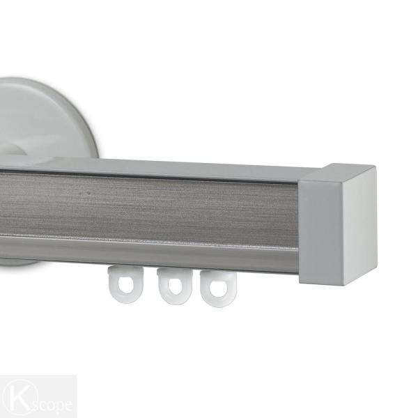 Nexgen 48 in. Non-Adjustable Single Traverse Window Curtain Rod Set with White Endcap in Bechamel Applique