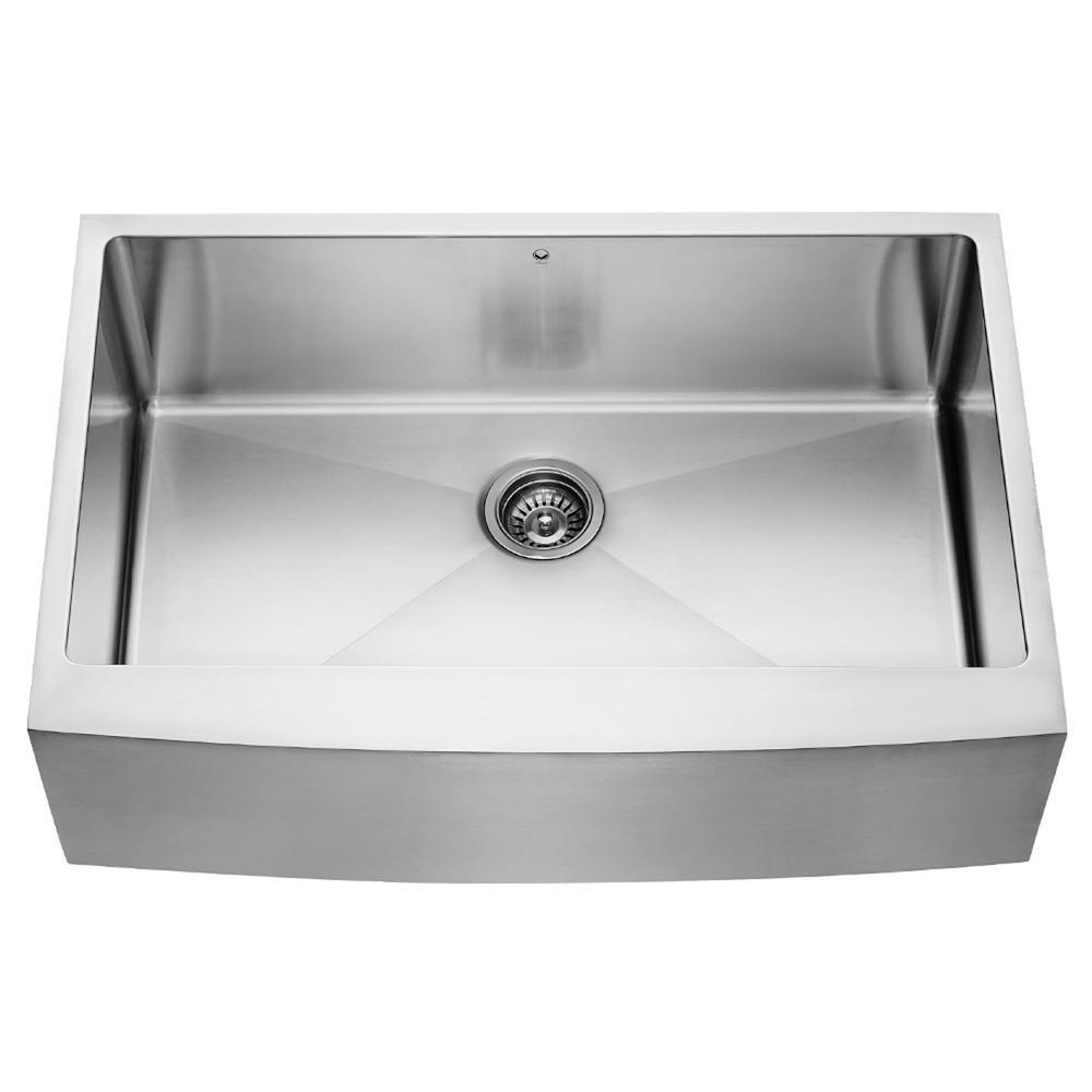 VIGO Farmhouse Apron Front Stainless Steel 33 inch Single Bowl Kitchen Sink by VIGO