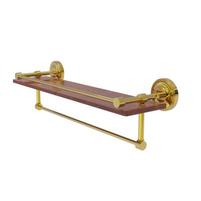Prestige Regal Collection 22 in. IPE Ironwood Shelf with Gallery Rail and Towel Bar in Polished Brass
