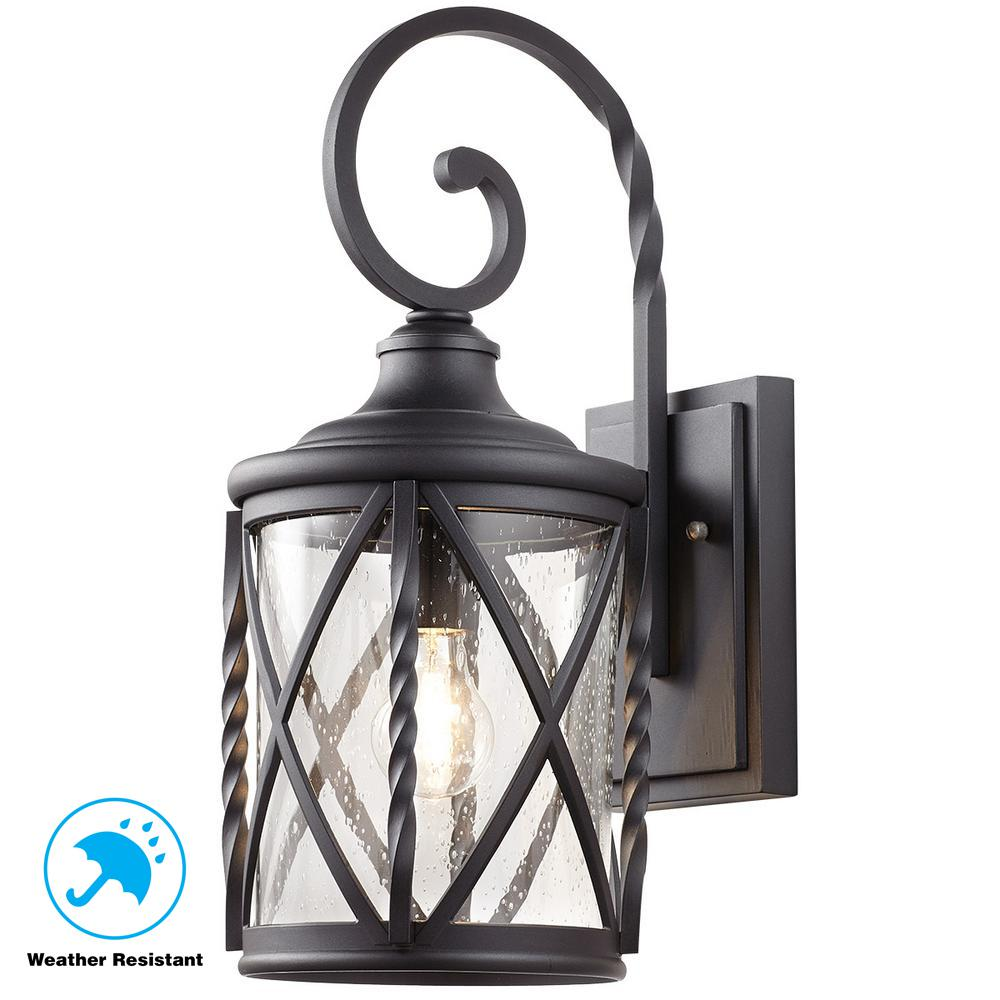 1 Light Black Outdoor Wall Lantern With Seeded Glass