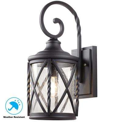 1-Light Black Outdoor Wall Lantern with Seeded Glass