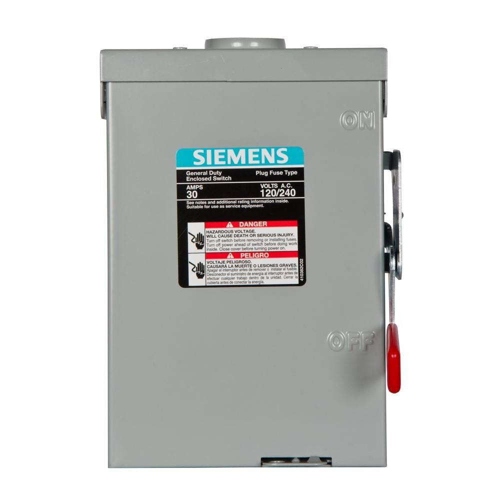 Siemens General Duty 30 Amp 240-Volt Two-Pole Outdoor Fusible Safety ...